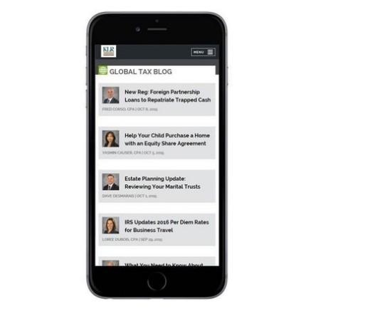 Blog page - mobile version