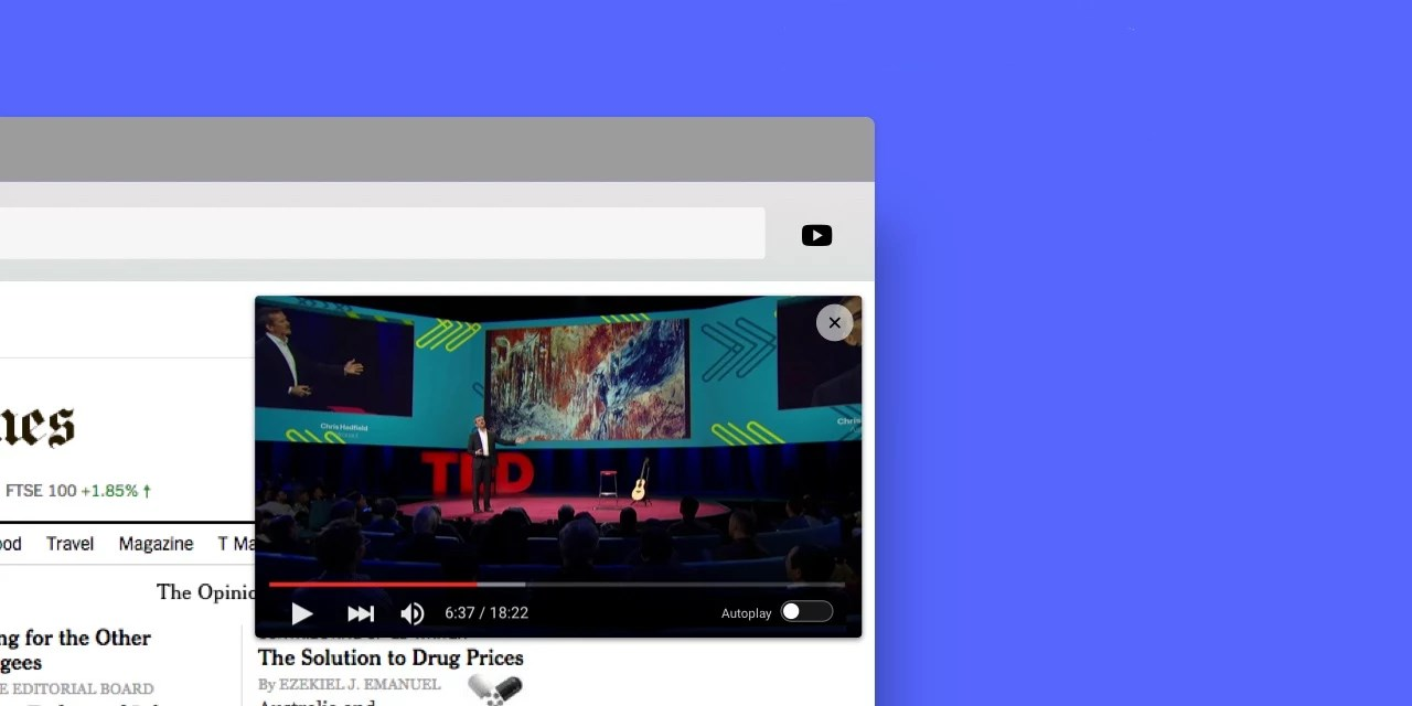 Sideplayer for Chrome lets you watch YouTube in a pop-up