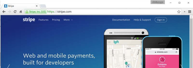 The lock icon in the address bar indicates that Stripe's site delivers content over an encrypted connection