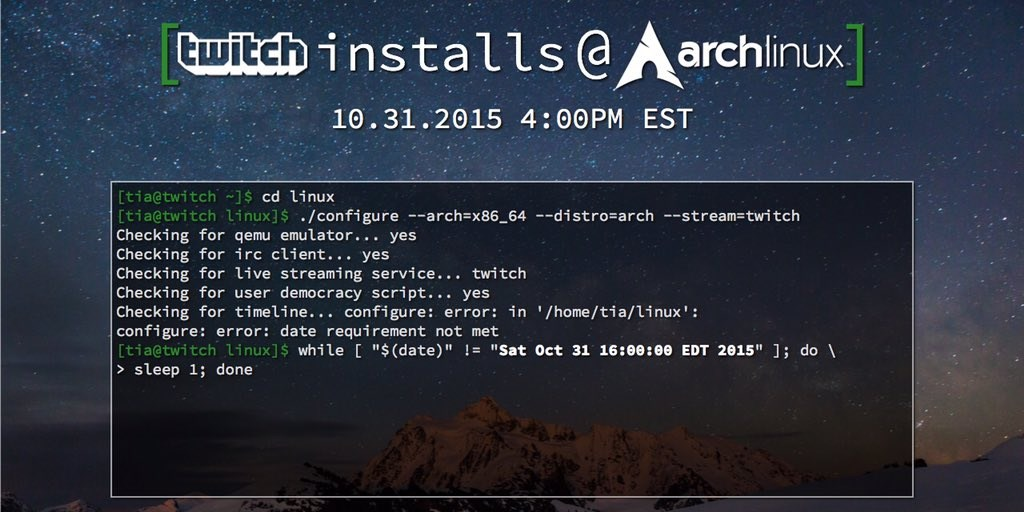 Twitch's next live community challenge: install Arch Linux
