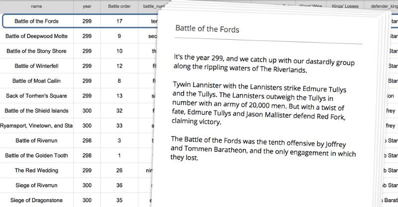 Wordsmith can summarize Game of Thrones battles using raw data and a set story structure