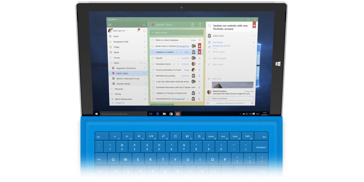 Wunderlist for Windows 10 lets you add to-dos with Cortana