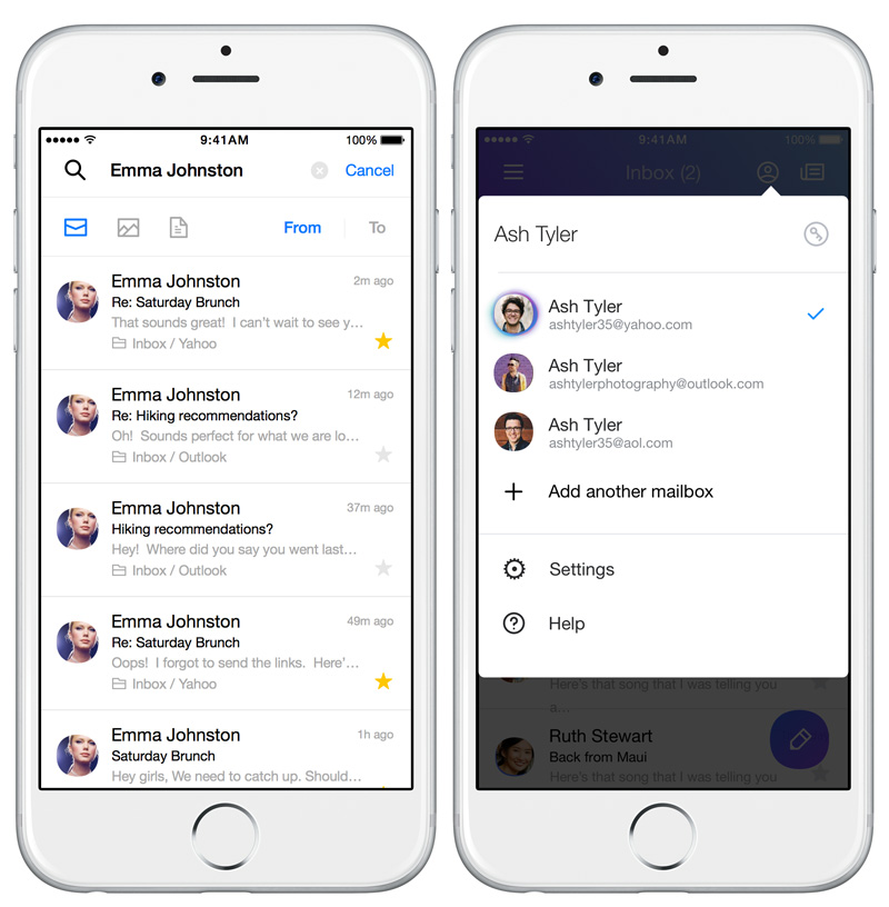 Yahoo new Mail app - gestures