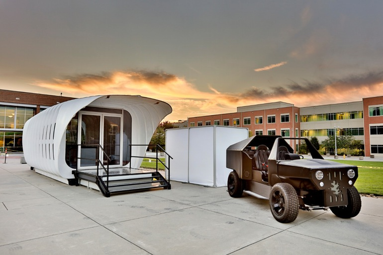 A 3D-printed car that can charge your 3D-printed house