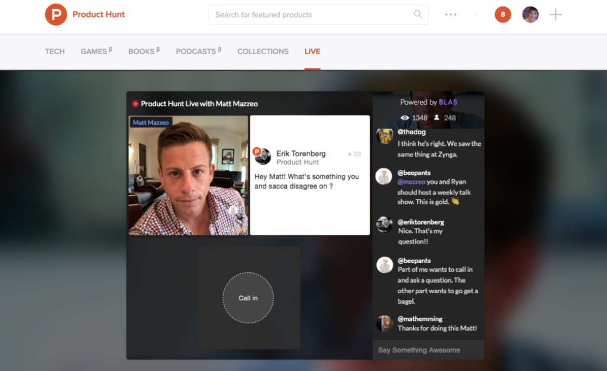 Product Hunt's AMA sessions now feature live video chats