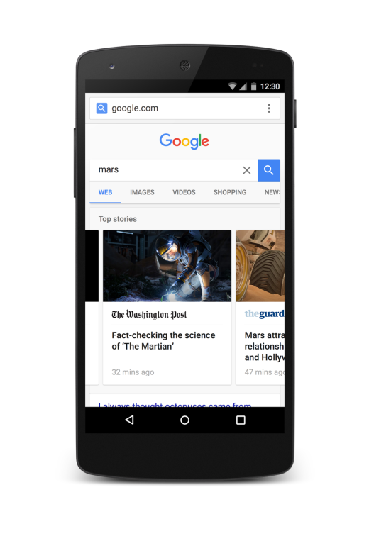 Prototype Google results page for AMP