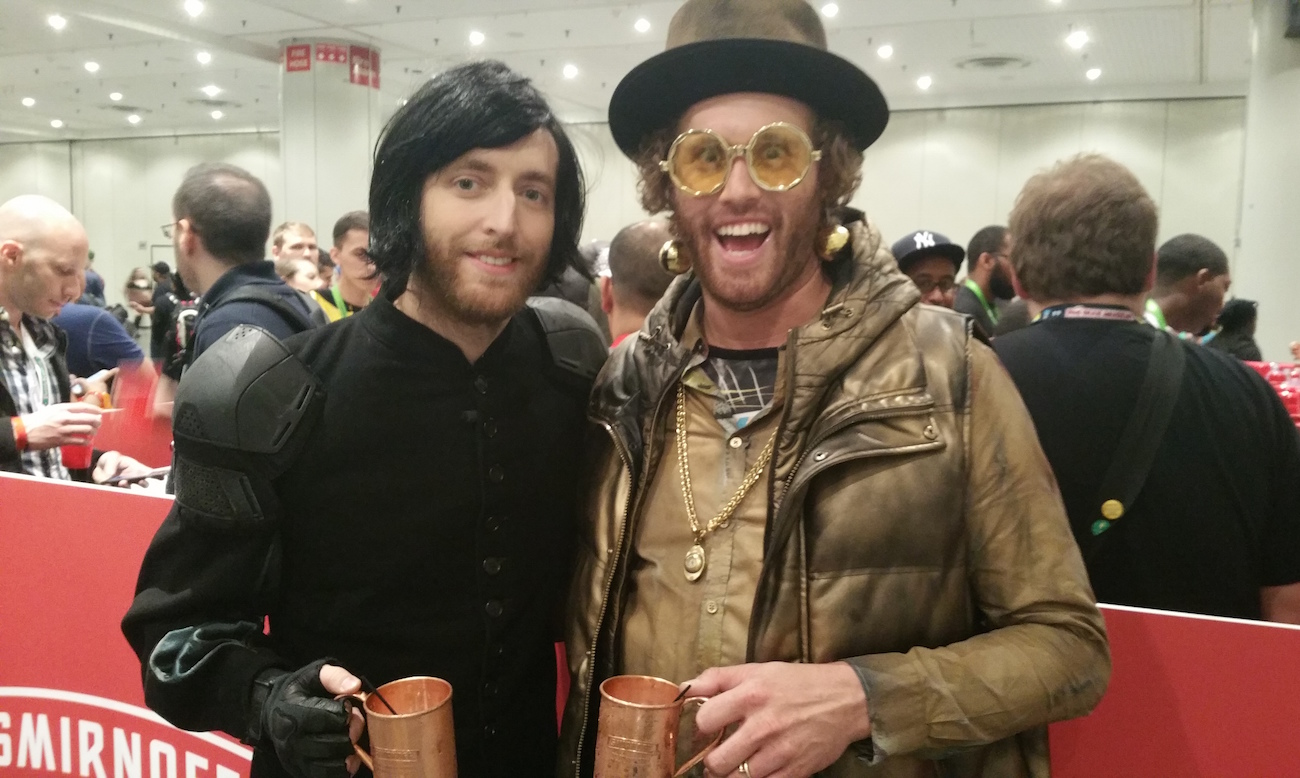 Actors Thomas Middleditch and TJ Miller in their Comic Con gear