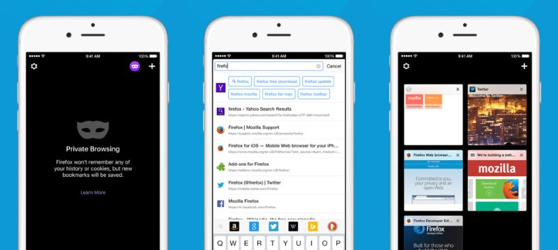 Firefox for iOS offers private browsing, intelligent search and visual tabs
