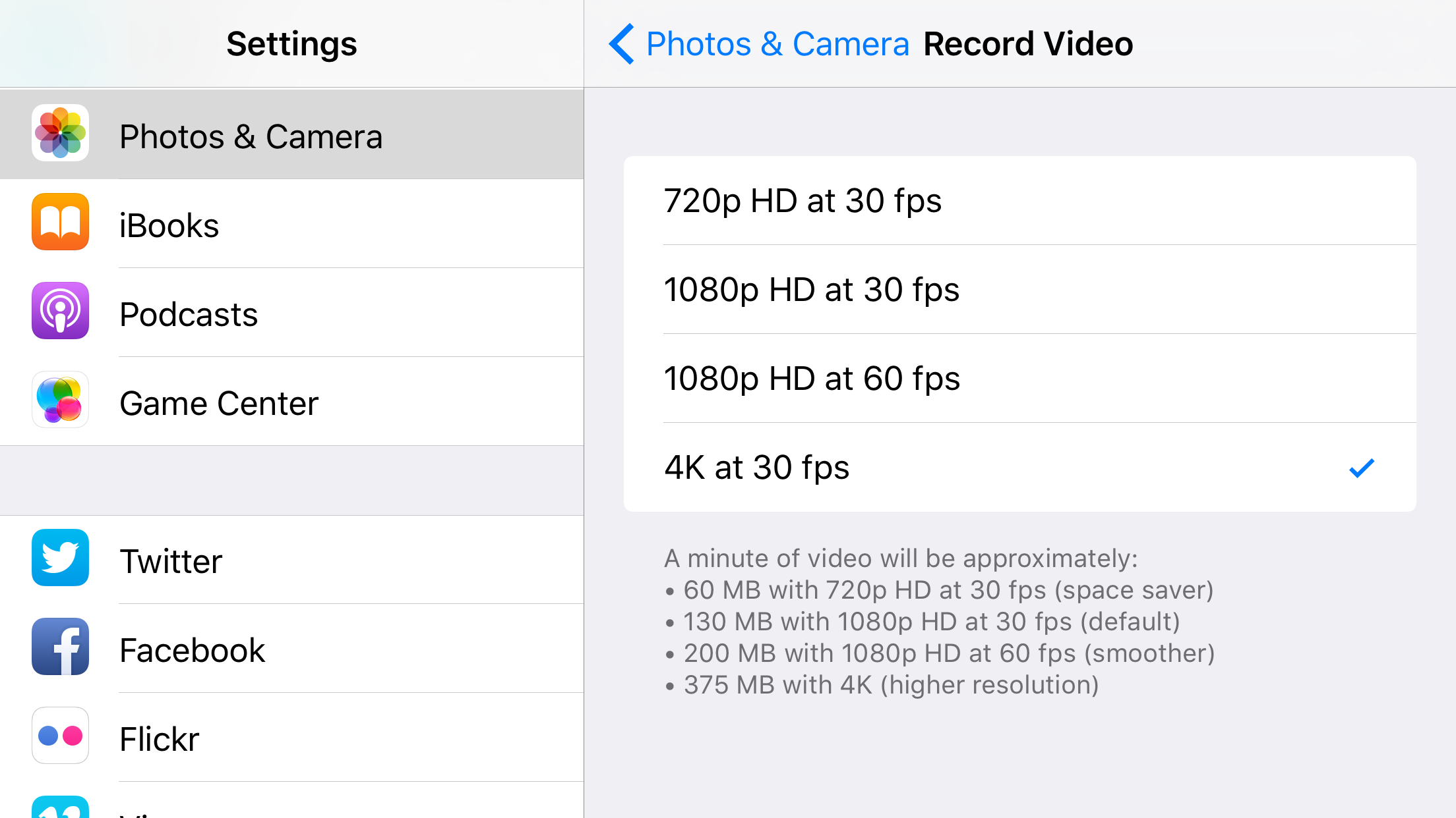 4K video on iPhone
