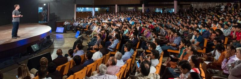 Mark Zuckerberg hosting a Facebook Townhall session at IIT Delhi