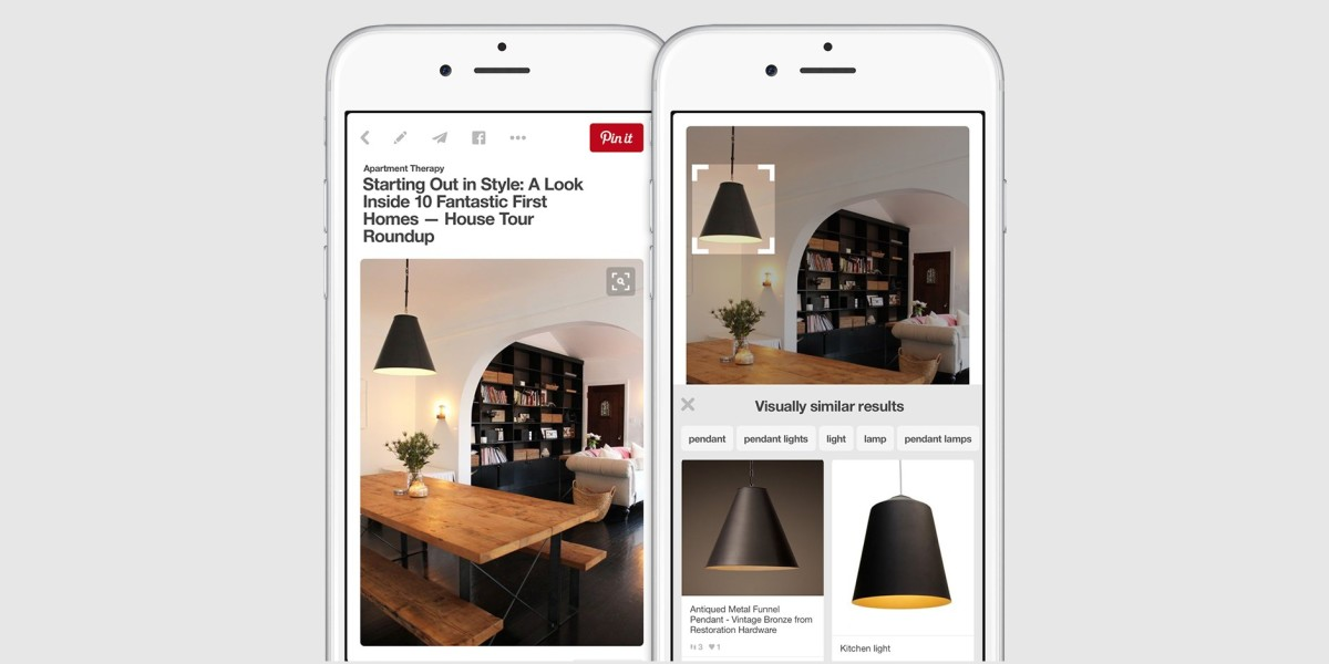 Pinterest lets you visually search pins to find stuff you can't describe in words
