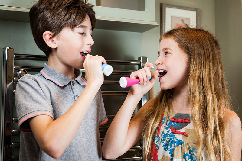 Playbrush works with multiple toothbrushes and can be safely shared amongst siblings