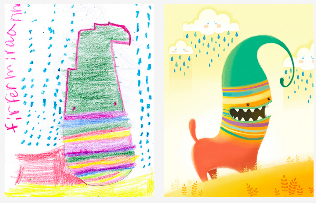 This lovely Kickstarter project pairs kids drawings with artists across the world