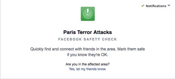 Facebook's Safety Check tool lets those in Paris report they're okay