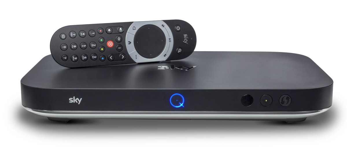 Sky Q Silver - with remote - on white
