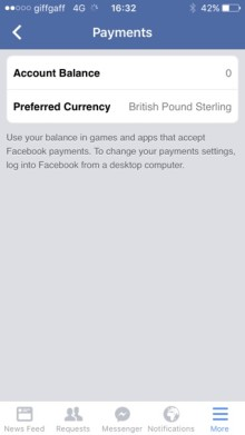 Facebook mobile payments