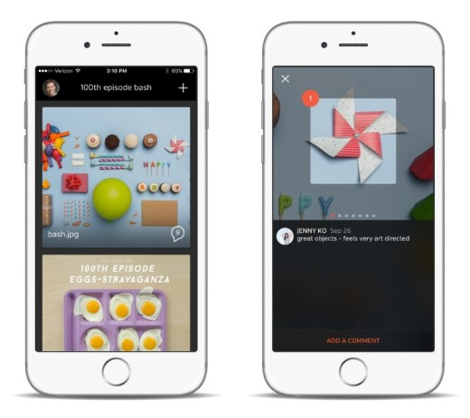 Spaces lets you collaborate on visual files by adding comments to images and video