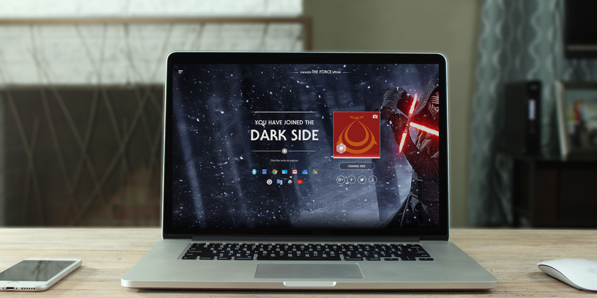 Google lets you choose the light or dark side to bring some Star Wars excitement to your Web experience ...