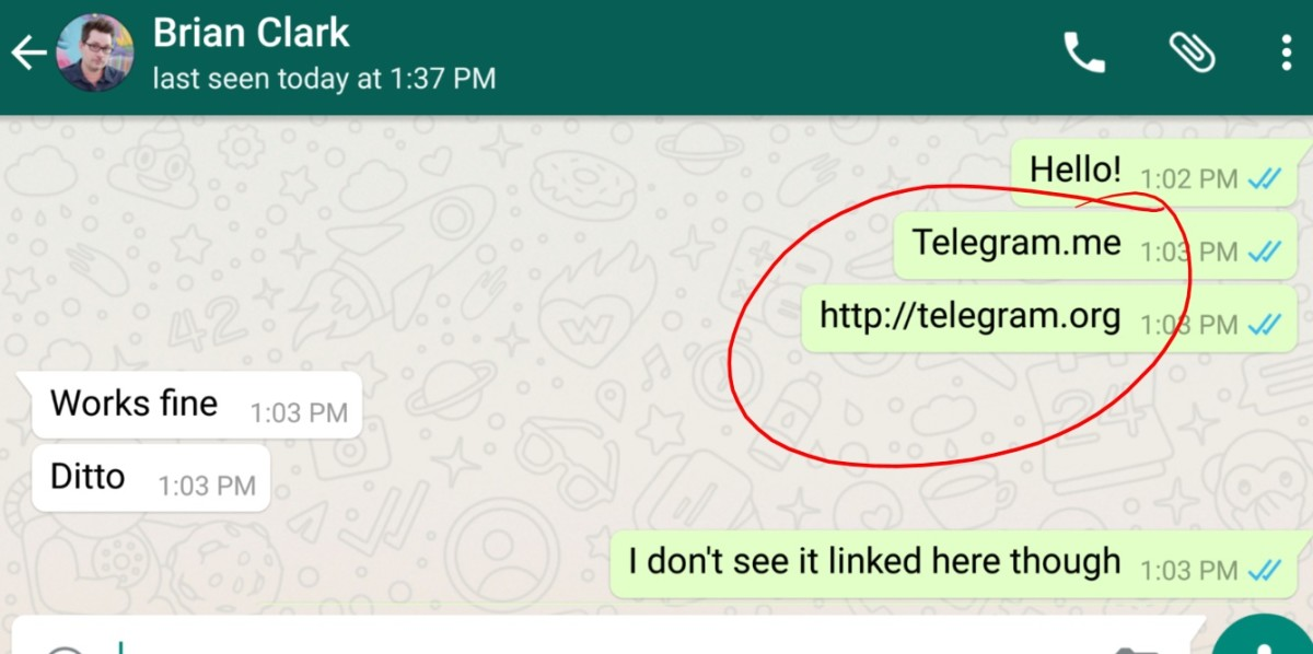 WhatsApp is blocking Telegram links on Android for some reason