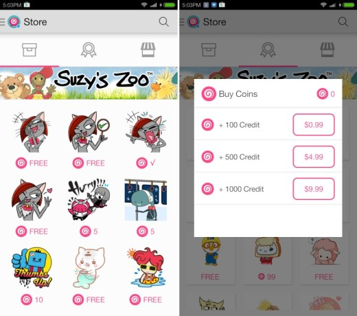 You'll need to use PicoCandy's app to browse, buy and send stickers in Messenger (image)