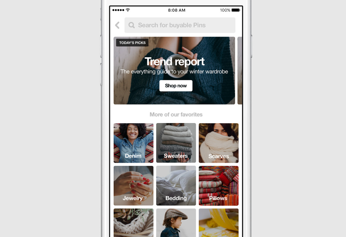 Pinterest now has its own shopping section