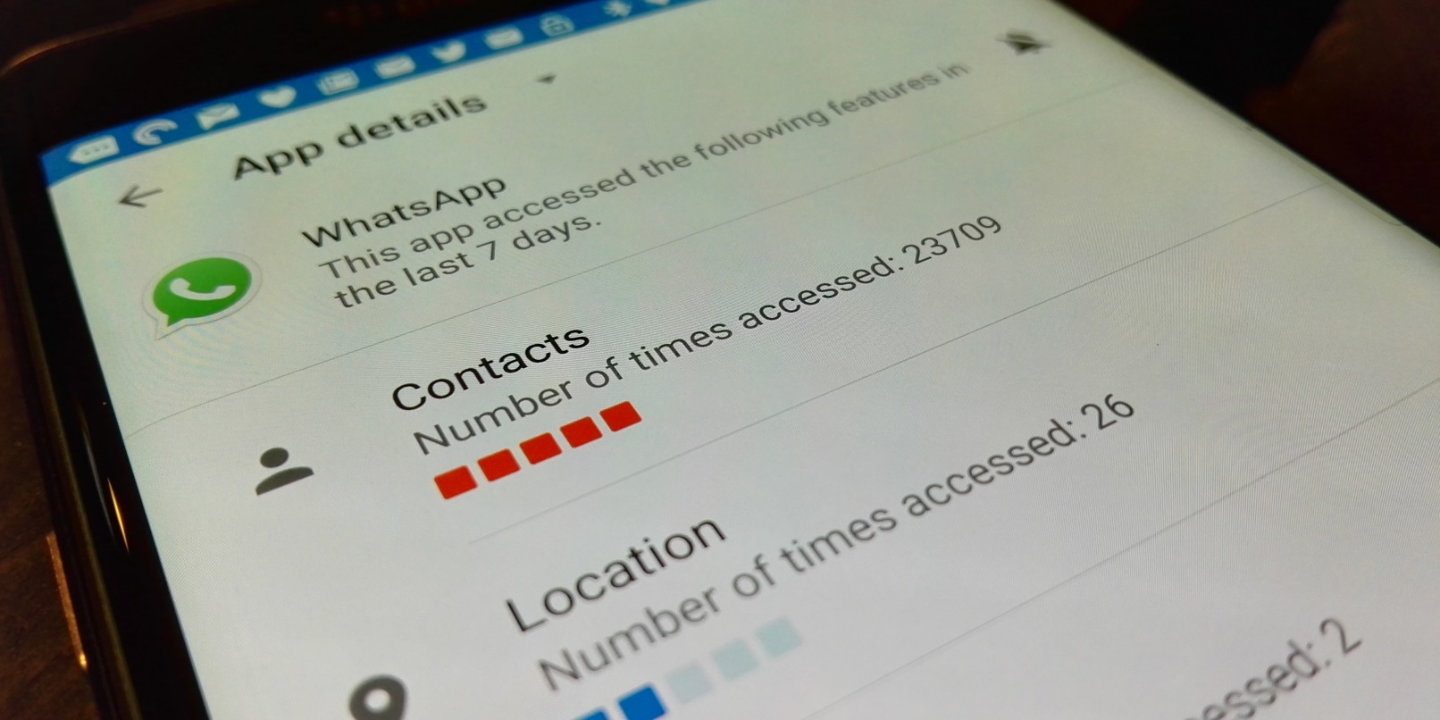 Why has WhatsApp accessed my contacts 23,709 times in the last 7 days?