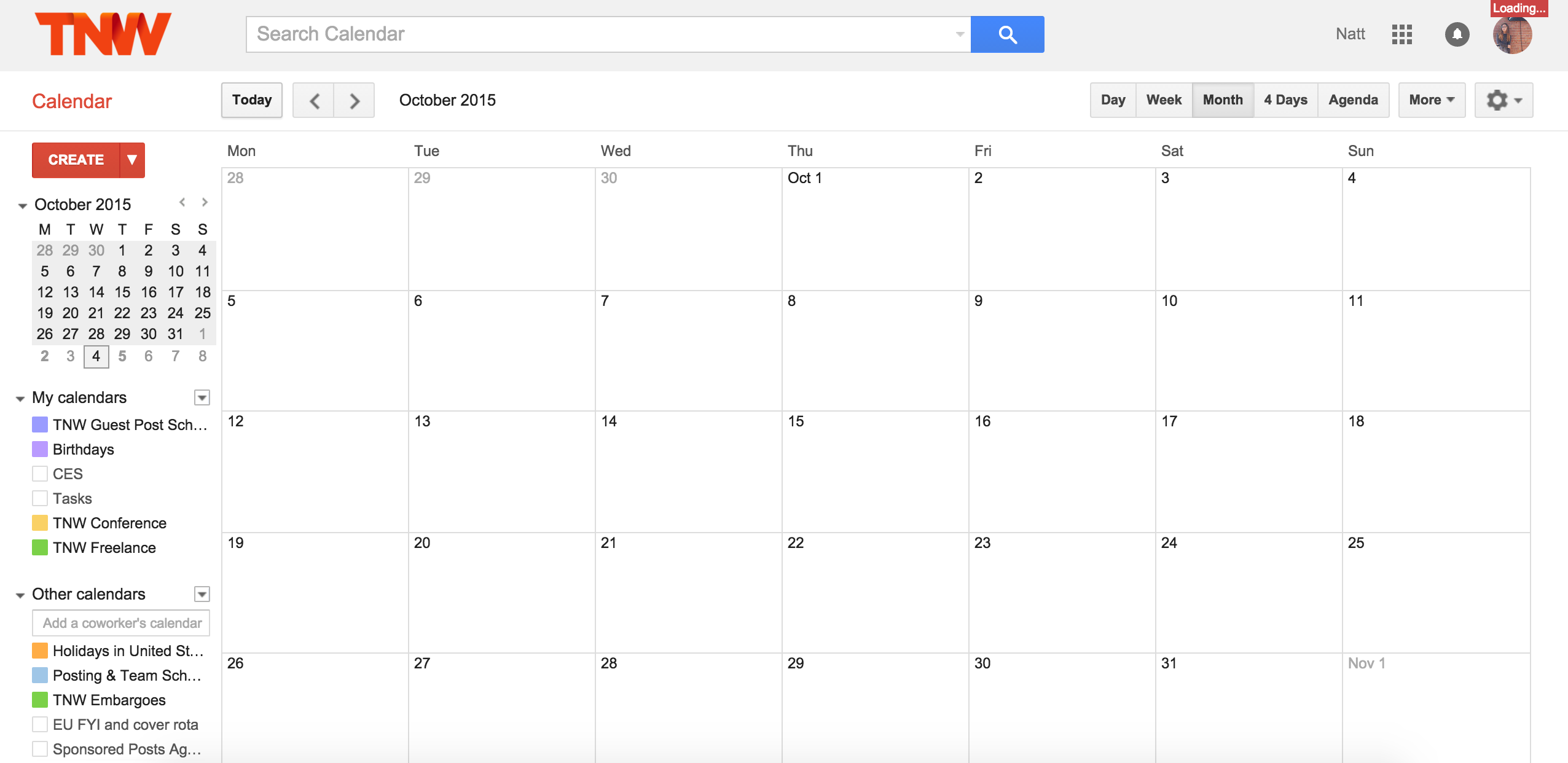 Blank Google Calendar : Google calendar is down consider all your meetings