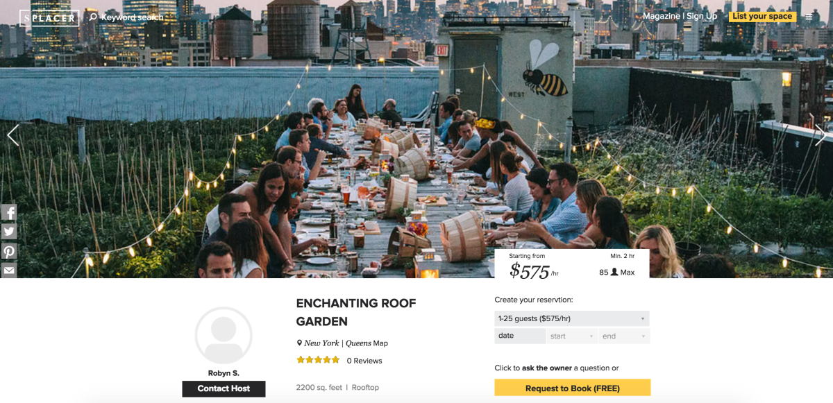 Splacer lets you find unique spaces for your next event (so don't abuse it)