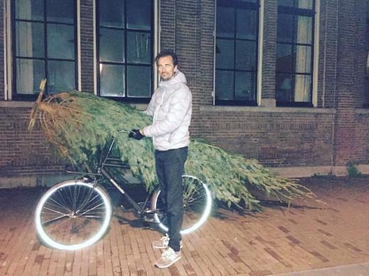 Christmas tree in a bike