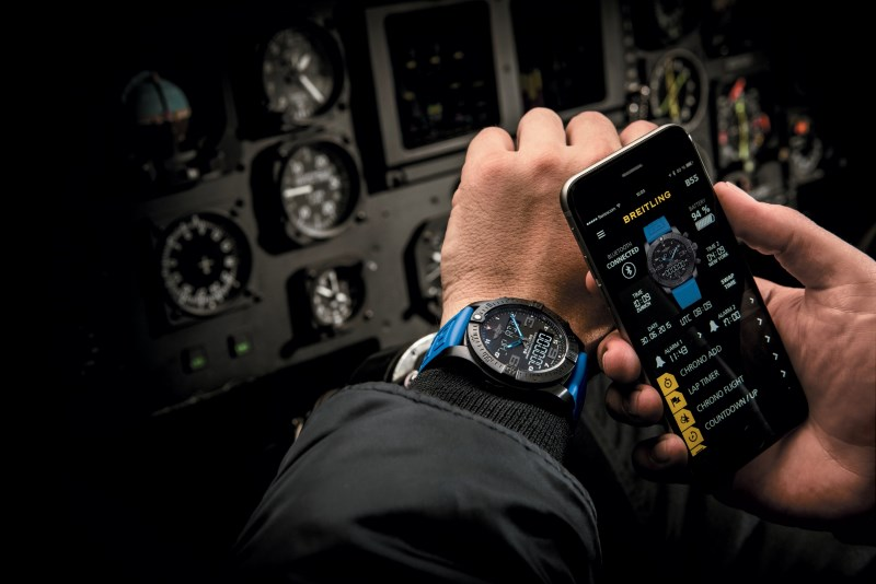 Breitling's B55 lets you record flight times and displays notifications from your phone