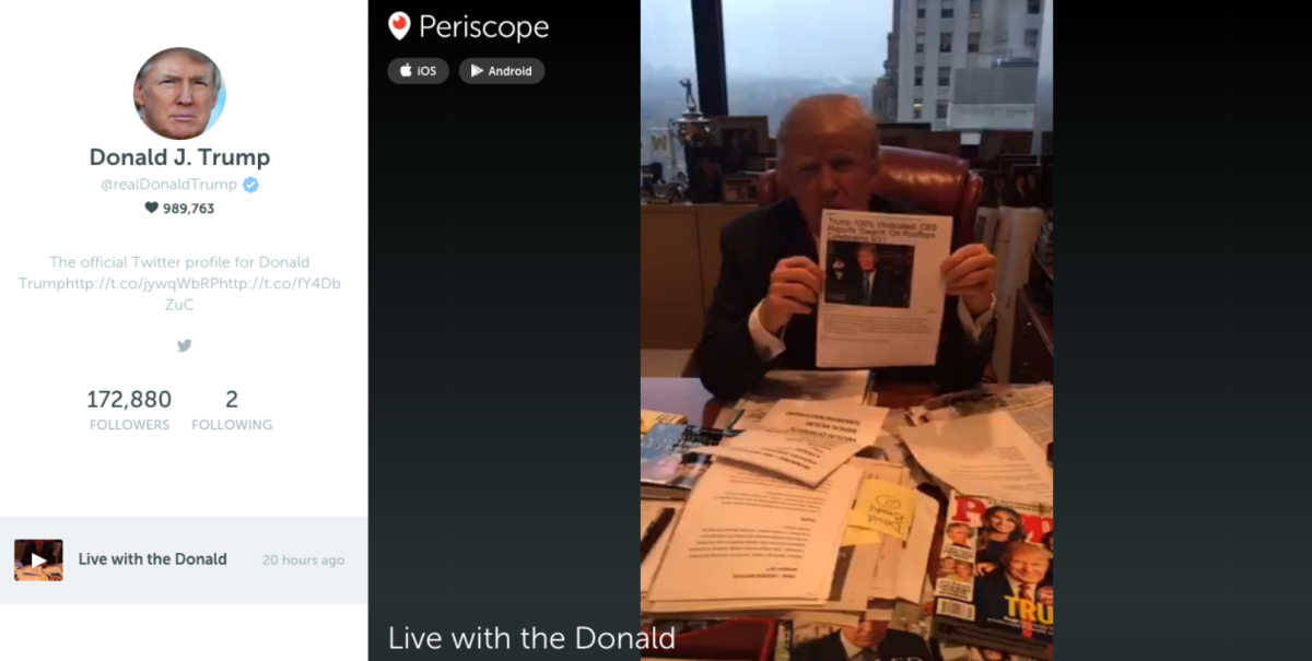 Shy and retiring Donald Trump goes live on Periscope for the first time