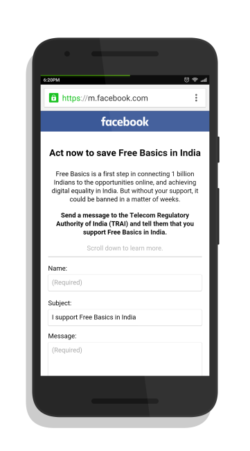 Facebook has been asking users to support Free Basics by sending an automated email to Indian regulatory authorities
