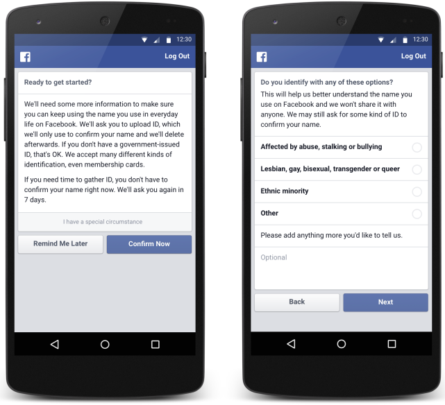 Facebook won't change its real name policy, but has unveiled a tool for victimized groups