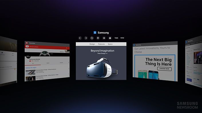 Samsung is releasing a virtual reality Web browser for the Gear VR