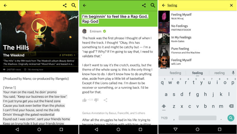 Genius shows you lyrics for songs playing around you or on Spotify
