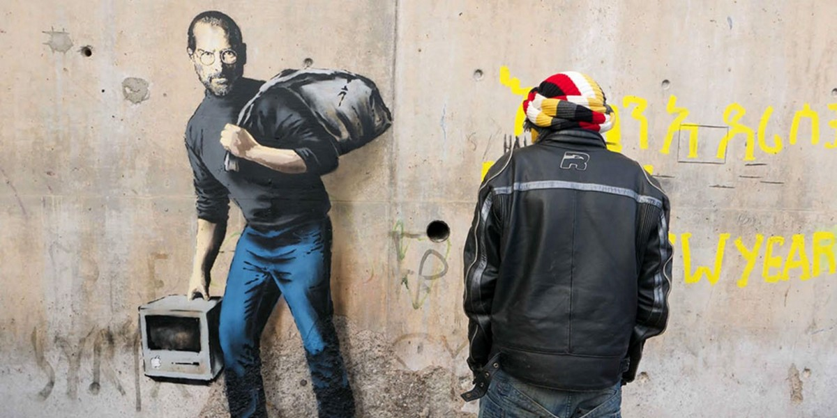 Banksy uses new Steve Jobs artwork to raise awareness about stigma and plight of refugees