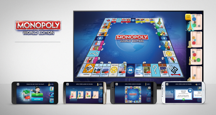 Monopoly Here & Now lets you view your cards on your device and your moves on the TV