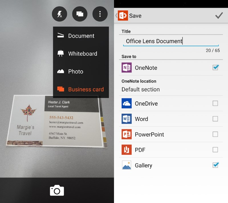 Office Lens lets you scan documents, business cards and whiteboards and digitizes them for easy retrieval