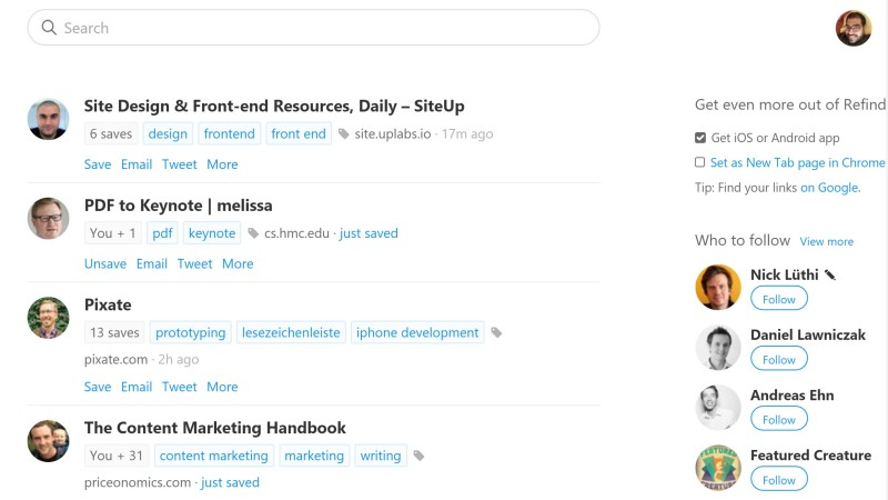 Refind lets you discover content centered around Web development, design and business