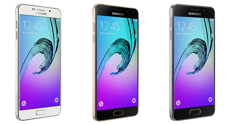 Samsung's Galaxy A7 (left) and A5 (center) offer Samsung Pay support; the A3 (right) does not