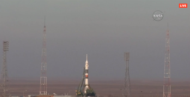 Watch three astronauts rocket to space