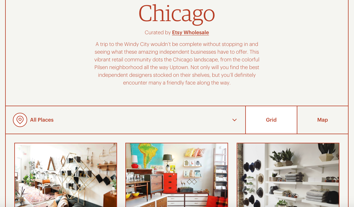 Etsy Launches Trendy Local Maker Guides For Four US Cities - Chicago map etsy