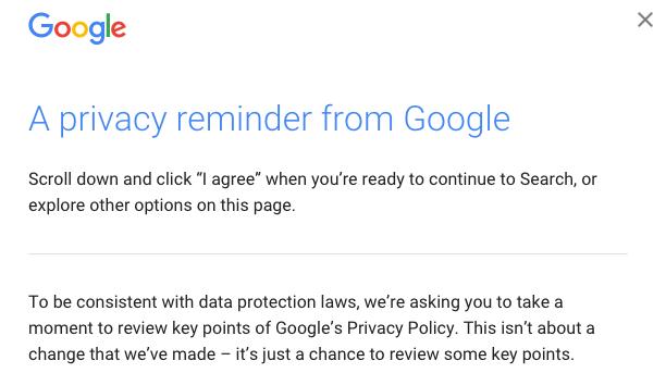 Google privacy pop up