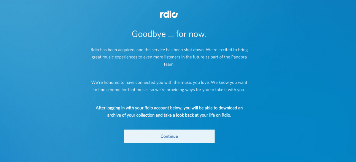 RIP Rdio