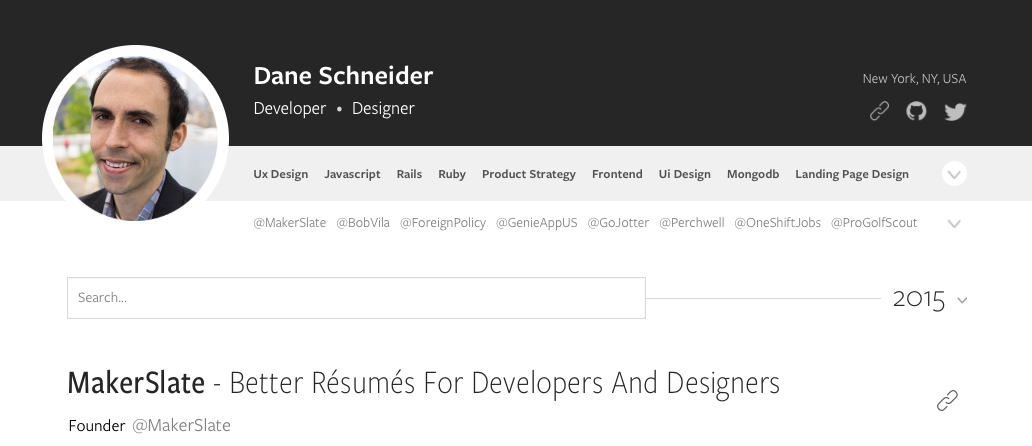 MakerSlate lets developers and designers add context to their resumes with ease