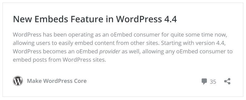You can now embed WordPress posts on any site by pasting a URL or code snippet