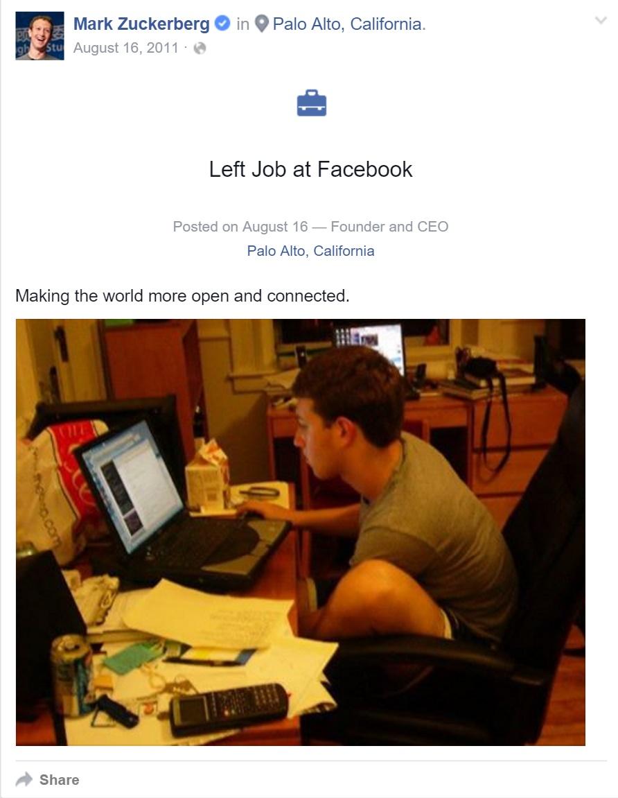 Zuckerberg quit