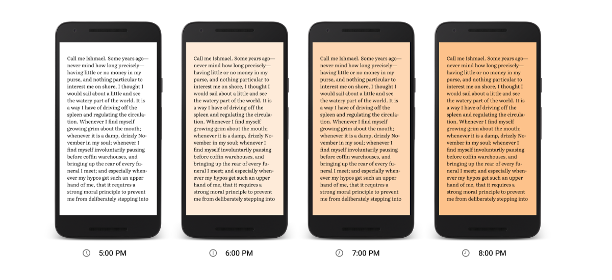 Google Play Books' new 'Night Light' adds a blue wavelength filter to help you fall ...