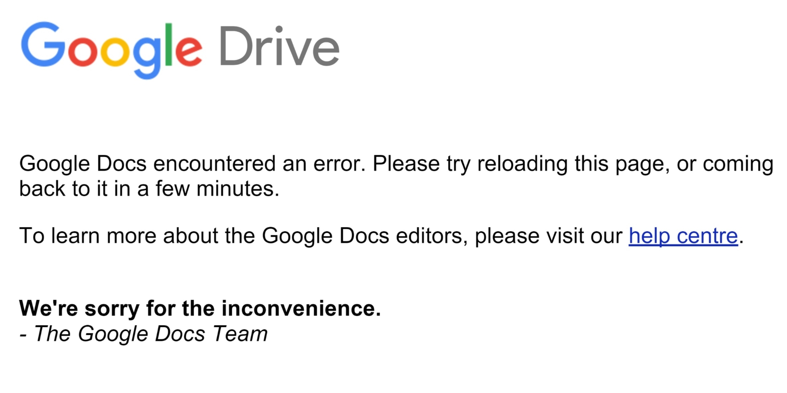 Google Drive and Gmail are down [Update: Fixed!]