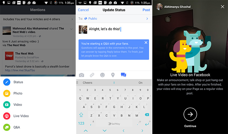 Facebook Mentions lets verified users post livestreams and host Q&As